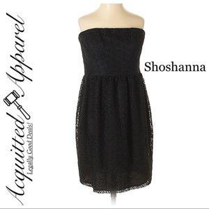 Shoshanna Little Black Strapless Sheath Dress